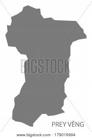 Prey Veng Cambodia Province Map Grey Illustration Silhouette