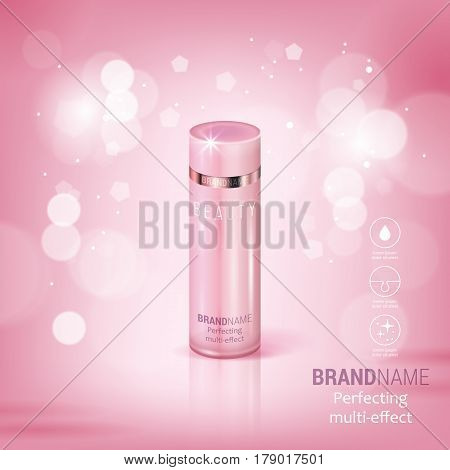 Facial Treatment Cream Realistic Vector Illustration Isolated On Pink Bokeh Background. Cosmetic Add