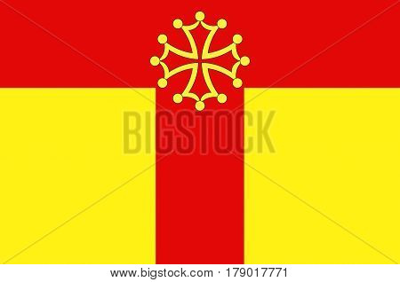 Flag of Tarn is a French department located in the Occitanie region in the southwest of France. Vector illustration