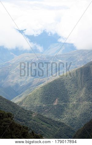 View of the Death road on the hill slope, Yungas region, Bolivia, South America