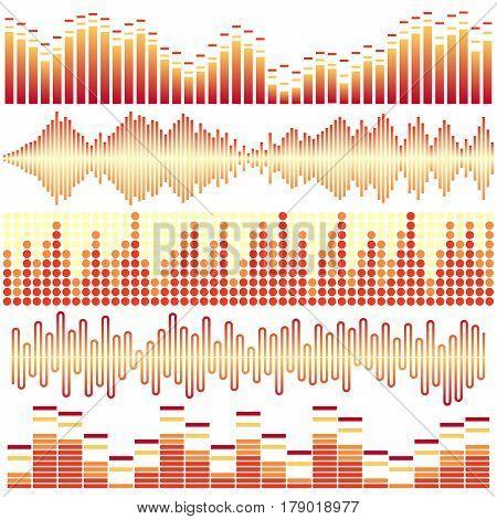 Vector set of orange sound waves. Audio equalizer. Sound & audio waves isolated on white background.