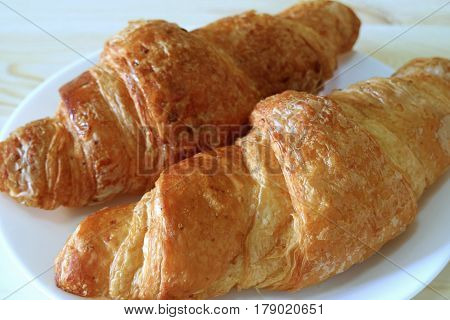 Close-up of Two Fresh Whole Wheat Croissant Pastries Served on White Plate