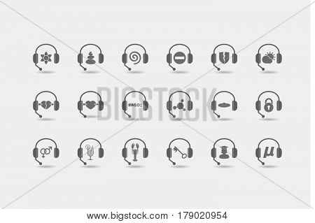 Set Of Hands Free Headsets With  Miscellaneous Mixed Icons