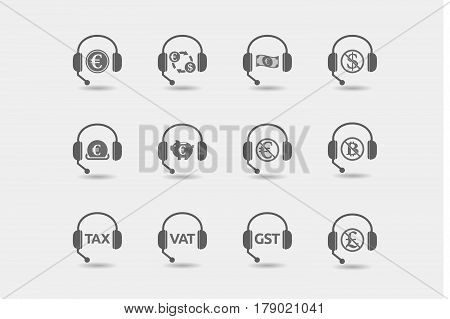 Set Of Hands Free Headsets With  Money, Economy, Business And Finance Related Icons