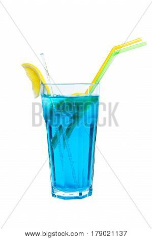 Blue Lagoon Cocktail - isolated on white background