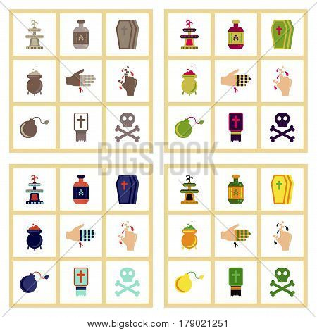 assembly of flat icons Halloween symbols mystery