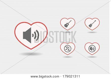 Set Of Line Art Hearts With  Sound And Music Related Icons