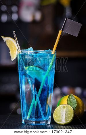 Blue Lagoon cocktail with a slice of lime