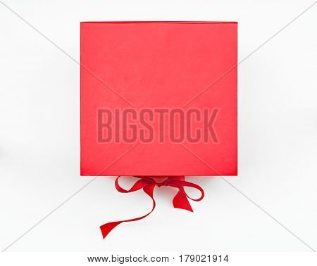 Red Box with Ribbon Closure, Top View
