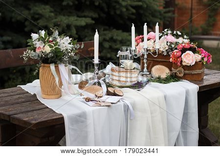 Wedding table setting in rustic style table vintage decoration