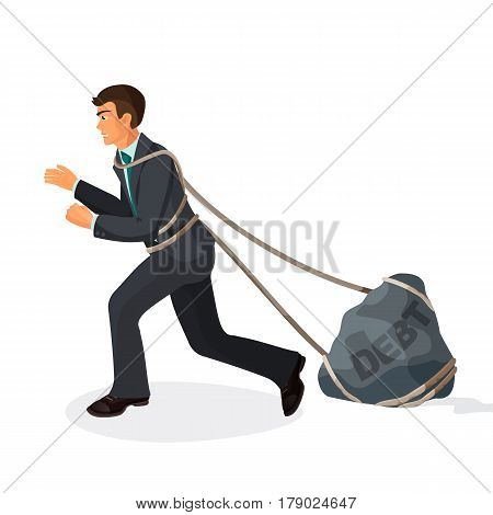 Entangled in ropes businessman pulls stone burden with name debt. Vector illustration of bad credit and trust consequences isolated on white. Young man dragging hard liability