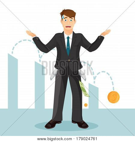 Devastated businessman makes helpless gesture. Man in business suit with turned inside out pockets and drop of sweat on forehead. Blue chart with descending coin on background vector illustration