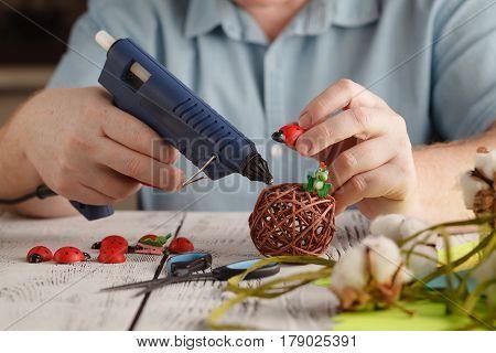 Male Hands Make Handmade Decor With Glue