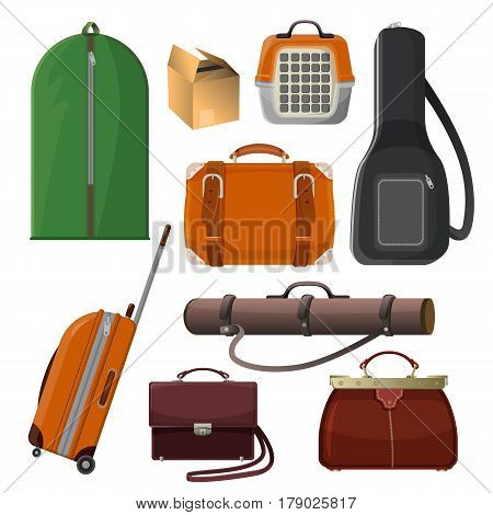 Set of baggage elements isolated on white. Big green luggage with handle, animal transportation cage, leather purse, round tube for documents, woman handbag, guitar case, vector illustration