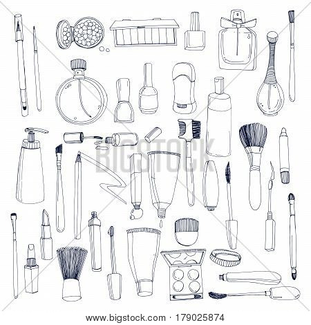 Fashion cosmetics set with make up artist objects, Contour vector hand drawn illustration collection.