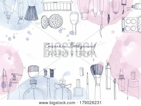 Fashion cosmetics horizontal background with make up artist objects and watercolor spots, Vector hand drawn illustration with place for text.