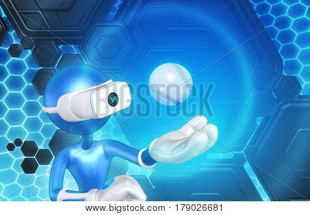 VR Baseball The Original 3D Character Illustration Wearing Virtual Reality Goggles