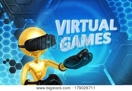 Virtual Reality Games The Original 3D Character Illustration Wearing Virtual Reality Goggles
