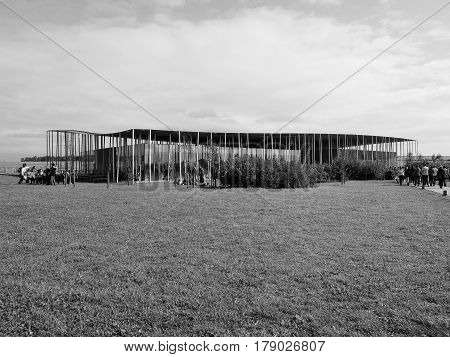 Stonehenge Visitor Centre In Amesbury In Black And White