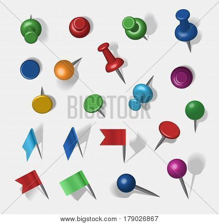 Colored 3d vector pins an tacks on transparent background. Sharp marker icon prickly barrette design. Communication place mark travel position navigation button.
