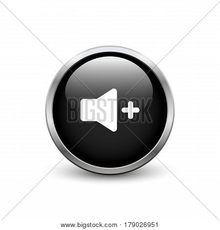 High volume black button with metal frame and shadow