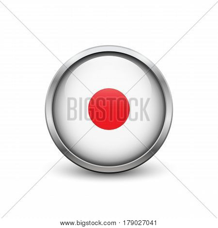 Record white button with metal frame and shadow