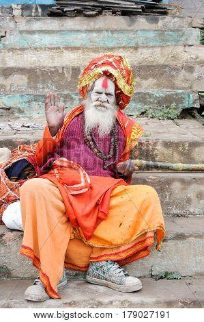 Holy Man Posing At Varanasi
