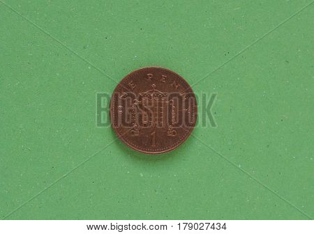 1 Penny Coin, United Kingdom Over Green