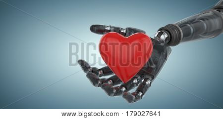 Three dimensional image of cyborg showing red heart shape against grey vignette 3d