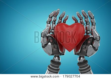 Three dimensional image of robot holding heart shape decoration against blue vignette background 3d