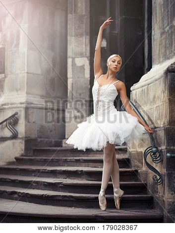 Confident moves. Vertical soft focus portrait of a graceful ballerina outdoors