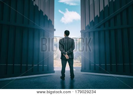 Rear view of classy businessman posing against scenic backdrop 3d