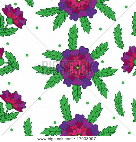 Vector seamless floral pattern with violet fancy flower and green dots. Fancy flower background for printing on fabric paper for scrapbooking gift wrap.