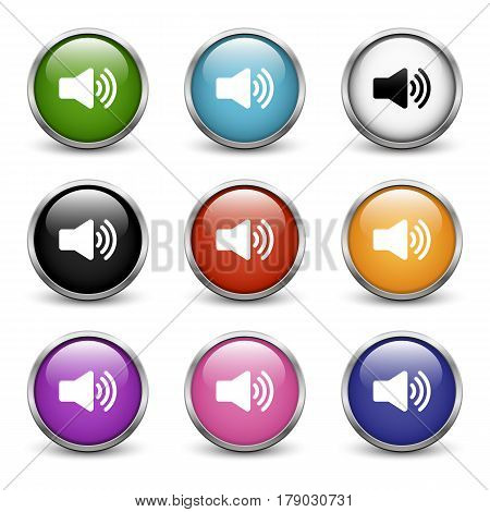 High Volume icons set of nine colored buttons with metal frame and shadow