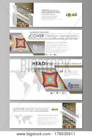 Social media and email headers set, modern banners. Business templates. Easy editable abstract design template, vector layouts in popular sizes. Tribal pattern, geometrical ornament in ethno syle, ethnic hipster backdrop, vintage fashion background.