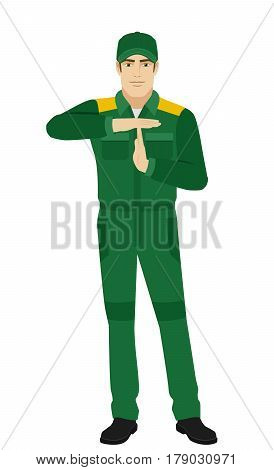Worker showing time-out sign with hands. Body language. Full length portrait of Delivery man or Worker in a flat style. Vector illustration.