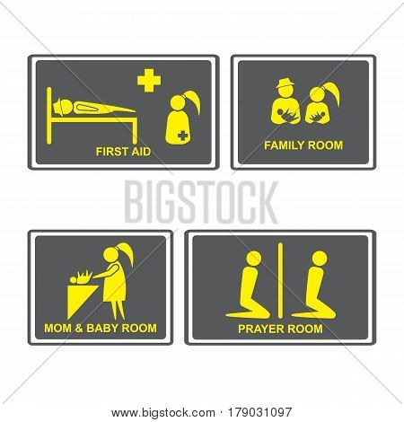 First aid Signs.First aid room on Signboards.Family roomprayer roomMom and baby room on Signboards.People icons set.Vector illustration