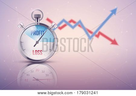 Background of stopwatch for forex trader. Time to market trading. Profit and loss. Business Illustration