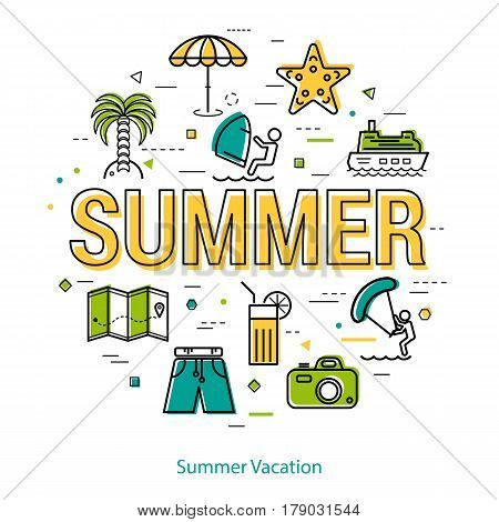 Vector concept of summer vacation. Big letters sign and holiday icons, palm tree, camera, surfing, ship. Round linear web banner in thin line style