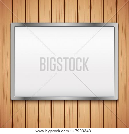 Wooden plank texture with Empty mockup billboard.  Illustration isolated on white background.
