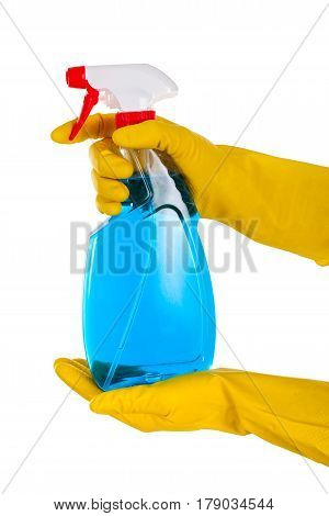 Close up picture of a house-cleaning spray on an isolated background