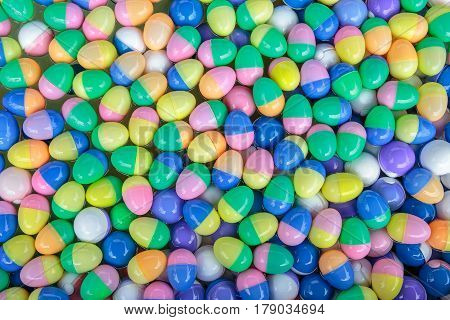 Colorful of lucky balls or eggs floated in water for gamble.