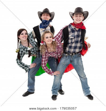 cabaret dancer team dressed in cowboy costumes dancing. Isolated on white background in full length.