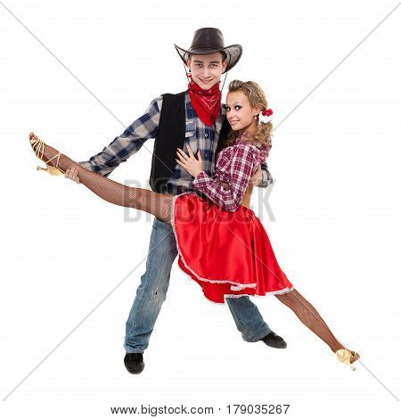 cabaret dancer couple dressed in cowboy costumes dancing. Isolated on white background in full length.