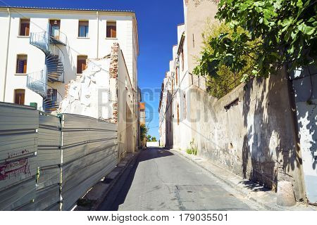 Street without people early in the morning. Europe. France Perpignan