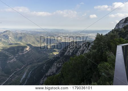 Summer Aerial view from montserrat monastery in catalonia, spain