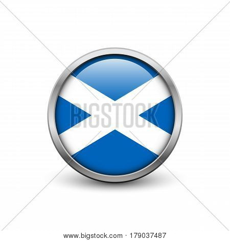 St Andrew Cross of Scotland button with metal frame and shadow