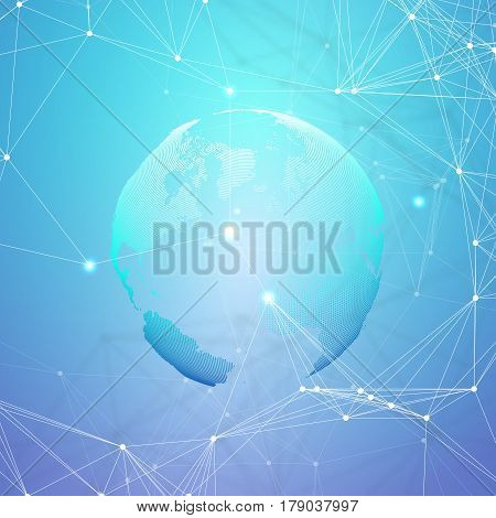 Abstract futuristic network shapes. High tech HUD background, connecting lines and dots, polygonal linear texture. World globe on blue. Global network connections, geometric design, dig data concept