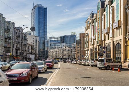 Kyiv Ukraine - March 29 2017: Traffic on the Baseyna street in Kyiv Ukraine. Kyiv is the capital of Ukraine.