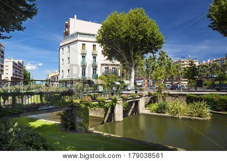 View to the Canal of Perpignan in summertime. Pyrenees-Orientales France.